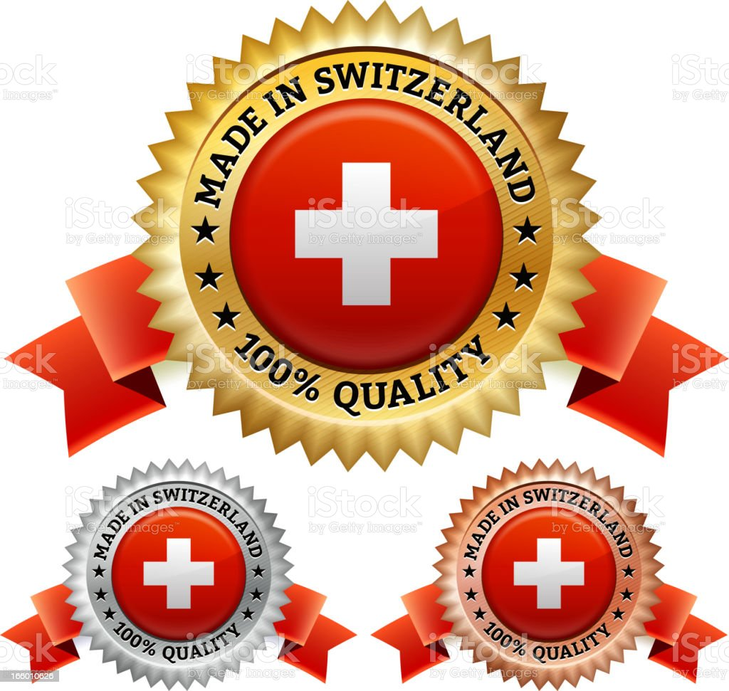Made in Switzerland Badge royalty free vector icon set royalty-free stock vector art