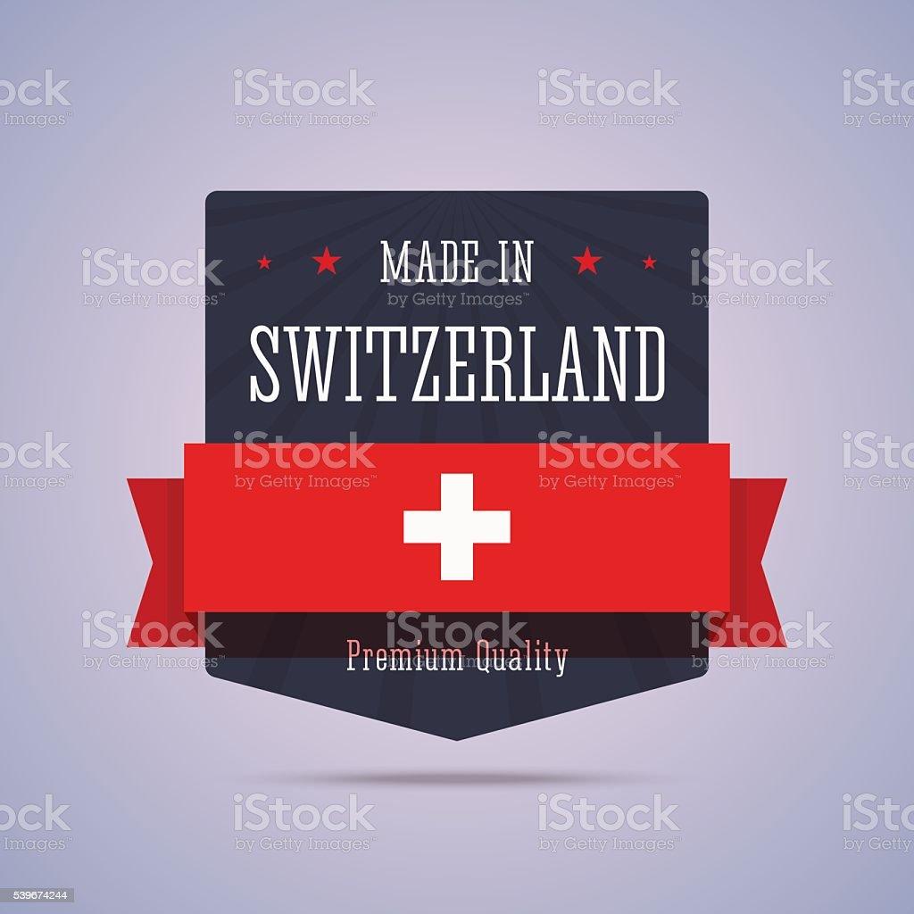 Made in Switzerland badge. vector art illustration