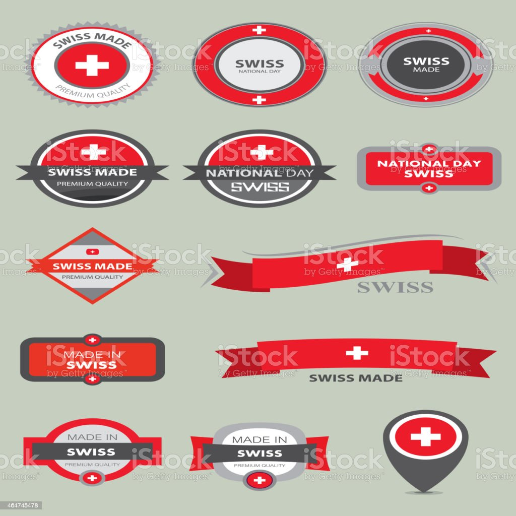 Made in Switzerland Seal Collection, Swiss Flag (Vector Art) vector art illustration