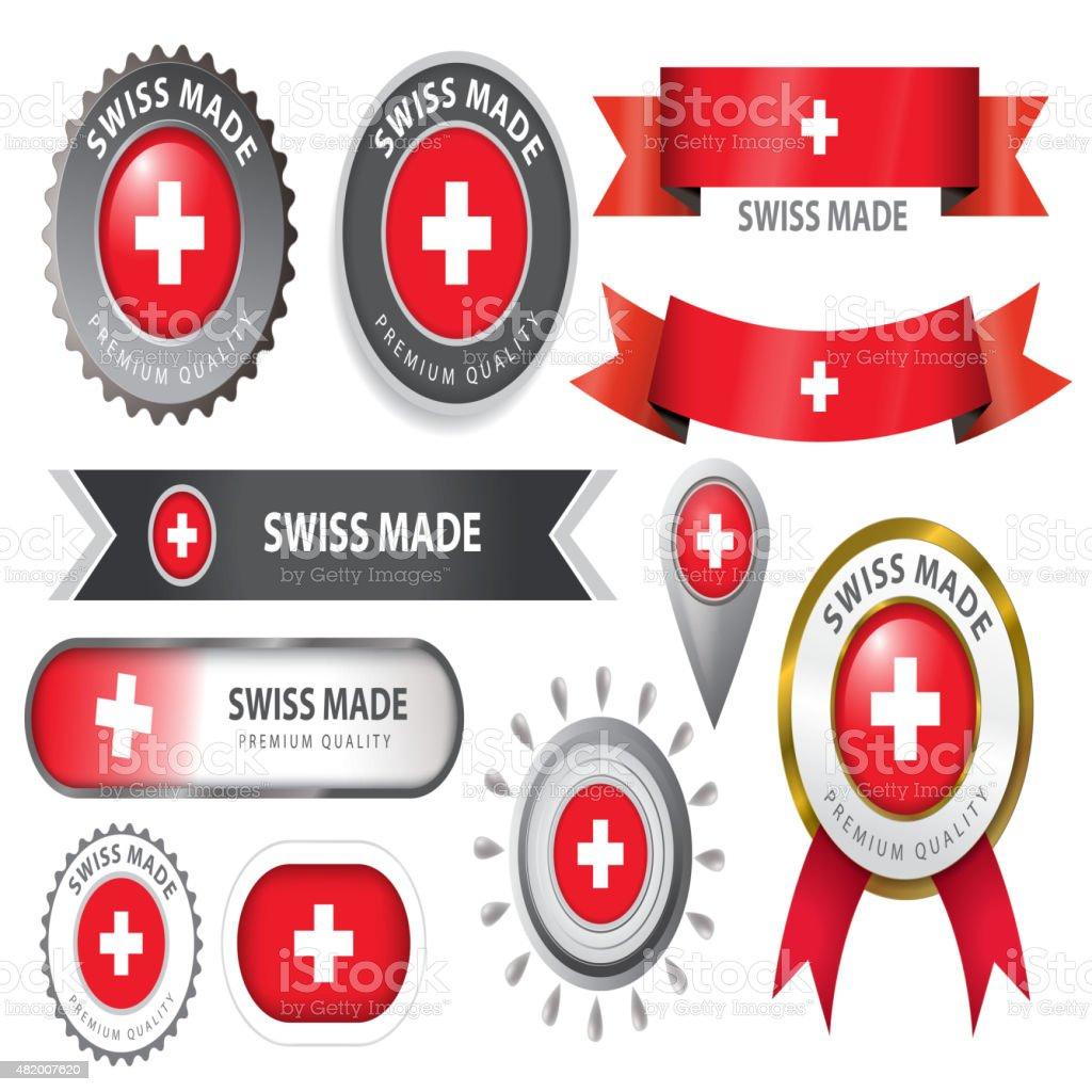 Made in Switzerland Seal, Swiss Flag (Vector Art) vector art illustration