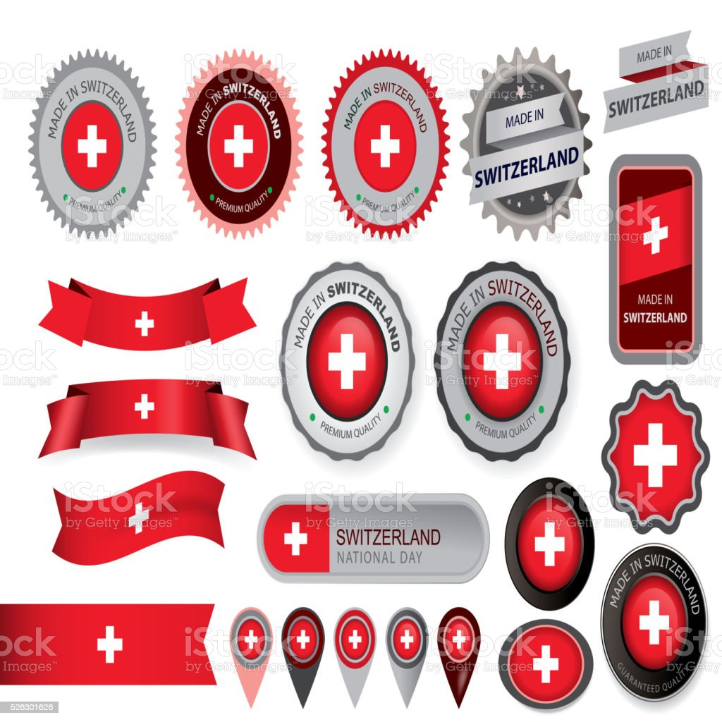 Made in Switzerland Seal, Swiss Flag (Vector Art) vector art illustration