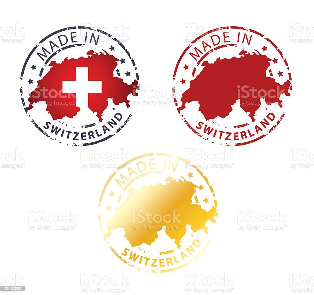 made in Switzerland stamp vector art illustration
