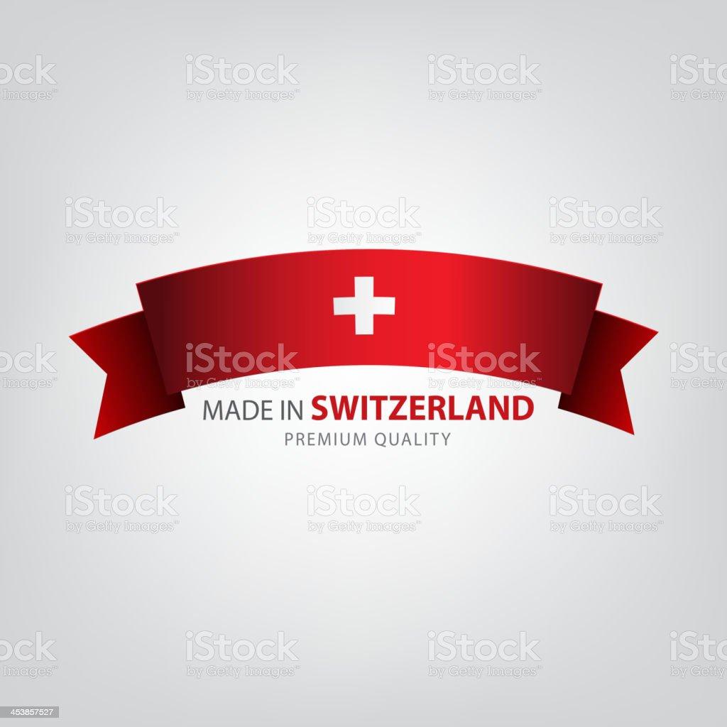 Made in SWITZERLAND, SWISS ribbon, Flag vector art illustration
