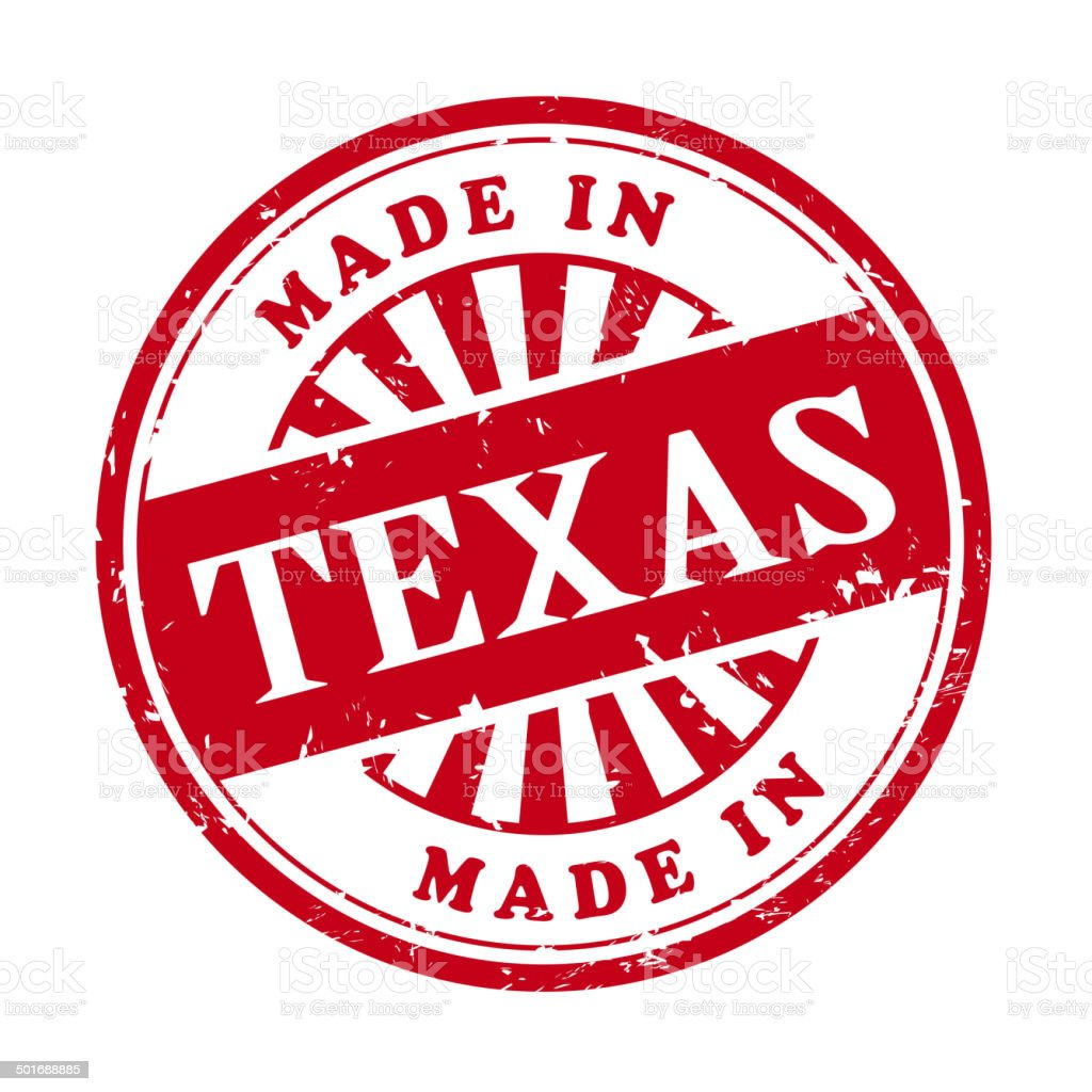 made in Texas grunge rubber stamp vector art illustration