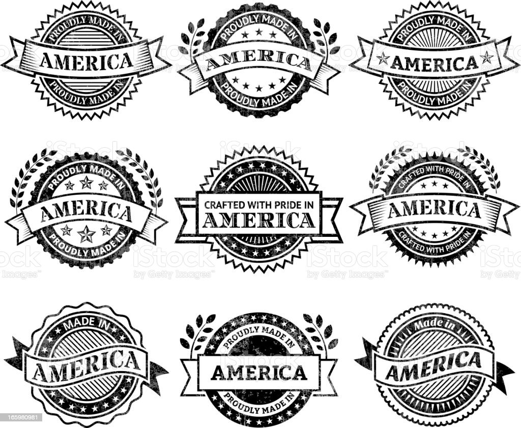 Made in the America patriotic black & white icon set royalty-free stock vector art