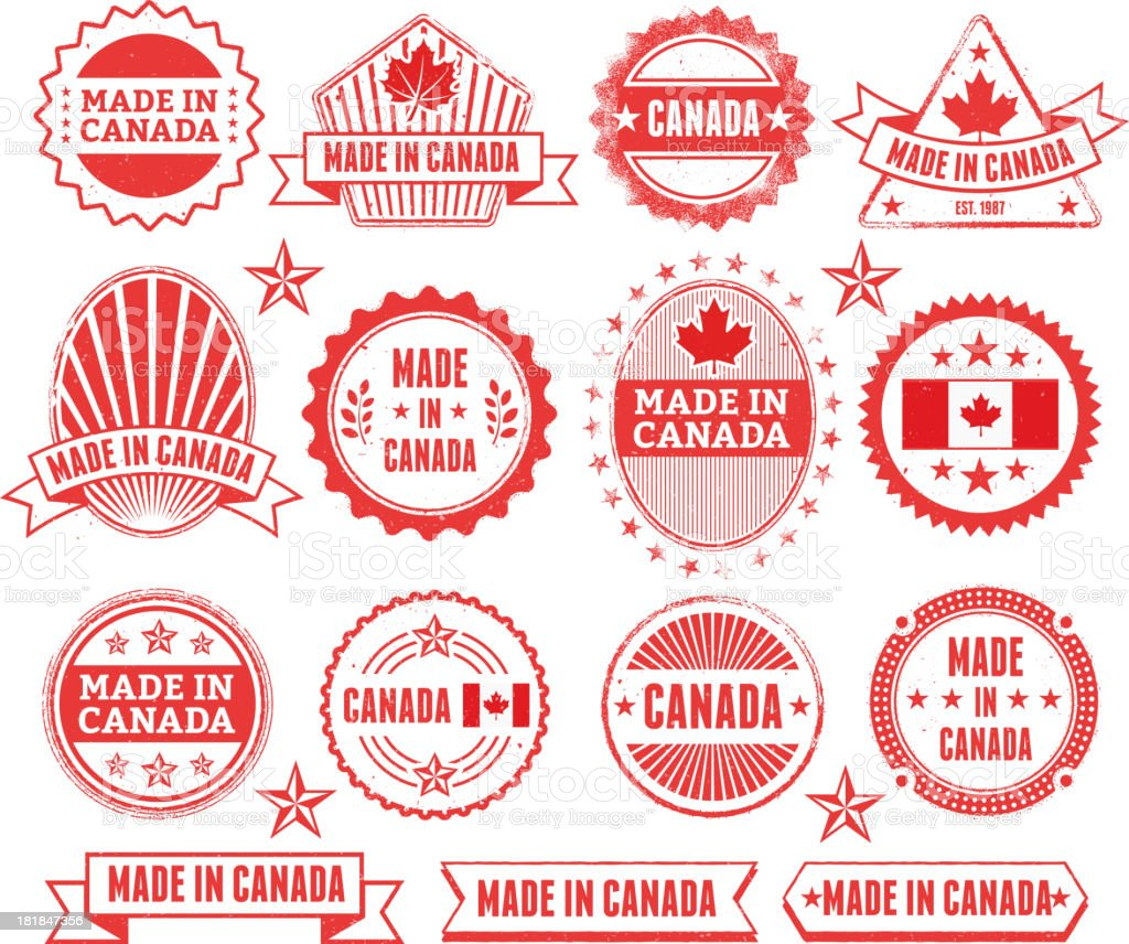 Made in the Canada Grunge Badge Set royalty-free stock vector art