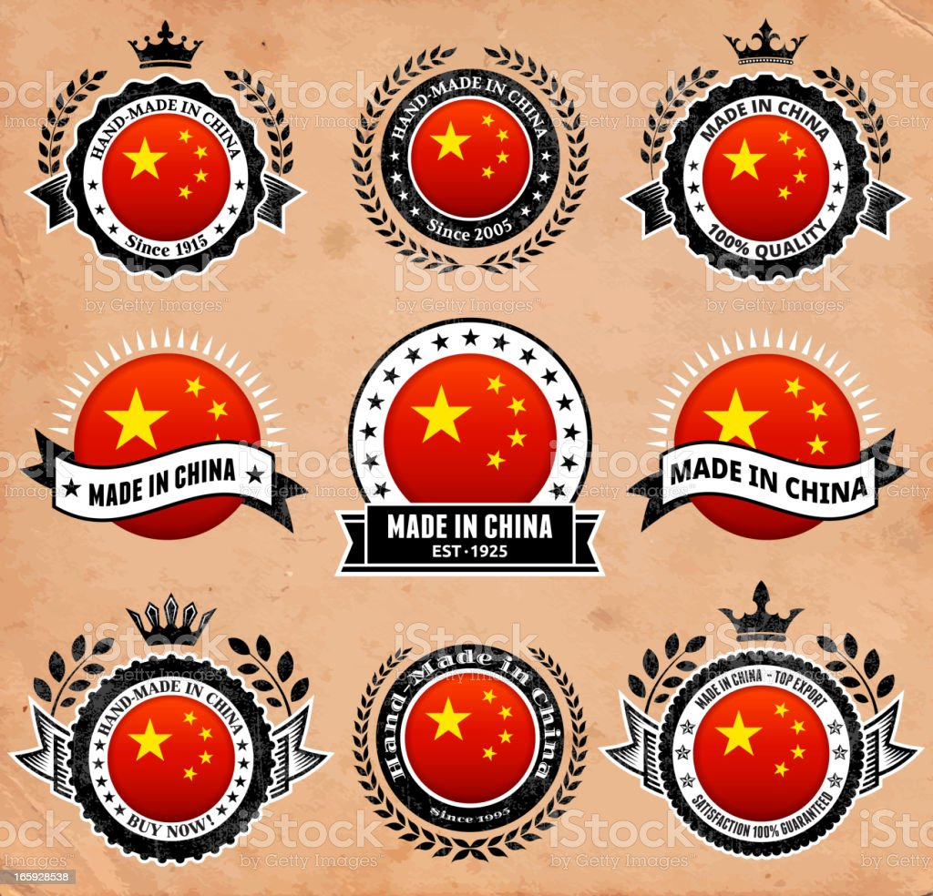 Made in the China Badge icon set vector art illustration