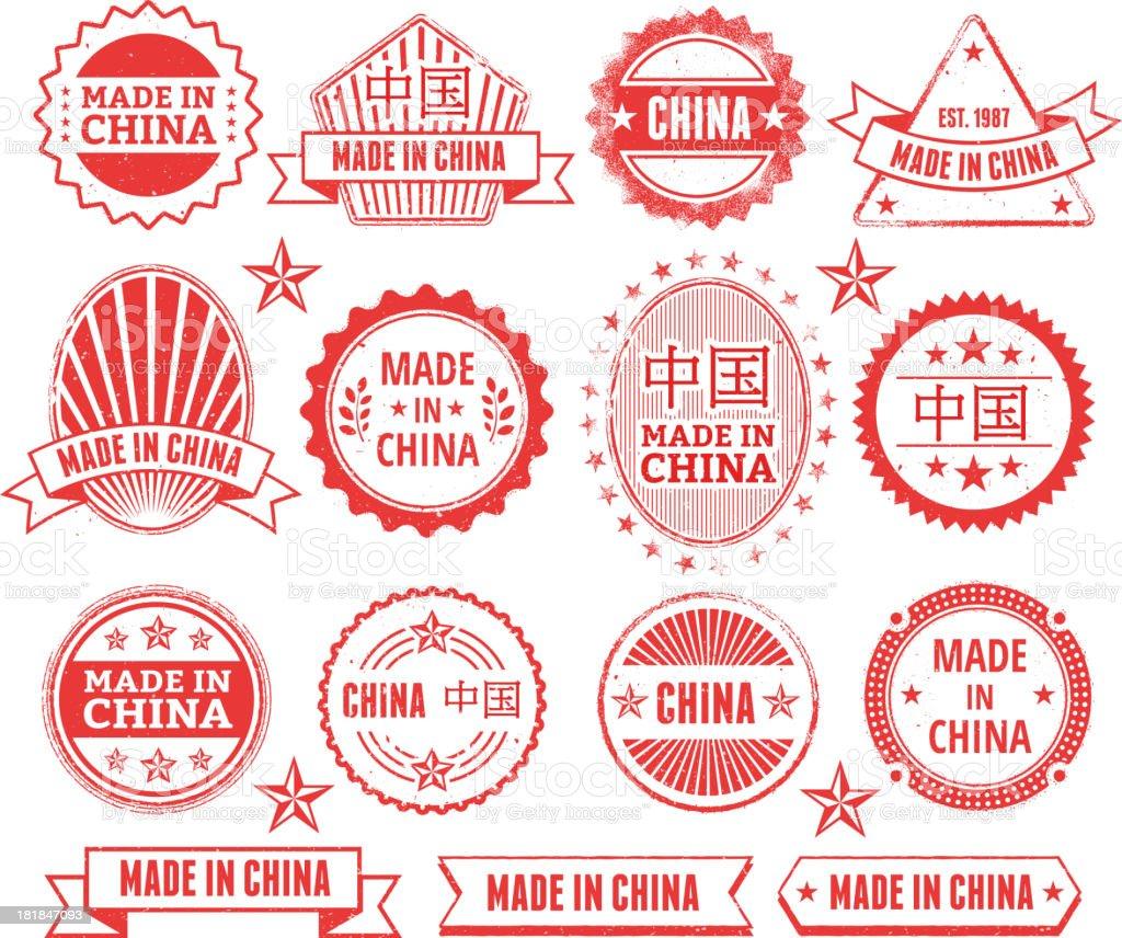 Made in the China Grunge Badge Set vector art illustration