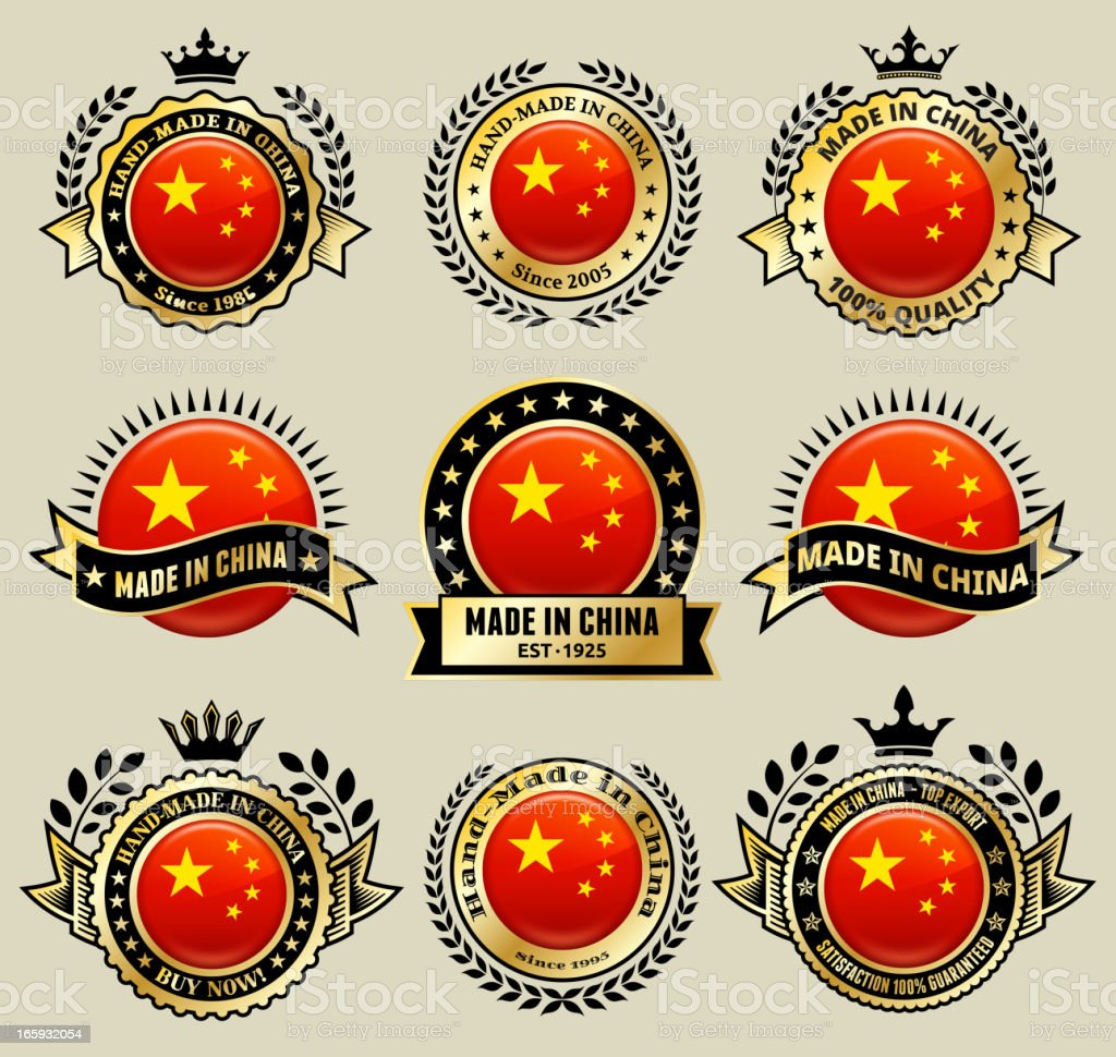 Made in the China patriotic Badge icon set vector art illustration
