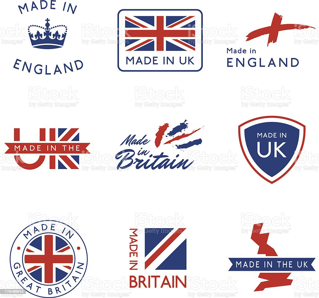 Made in the UK Labels royalty-free stock vector art