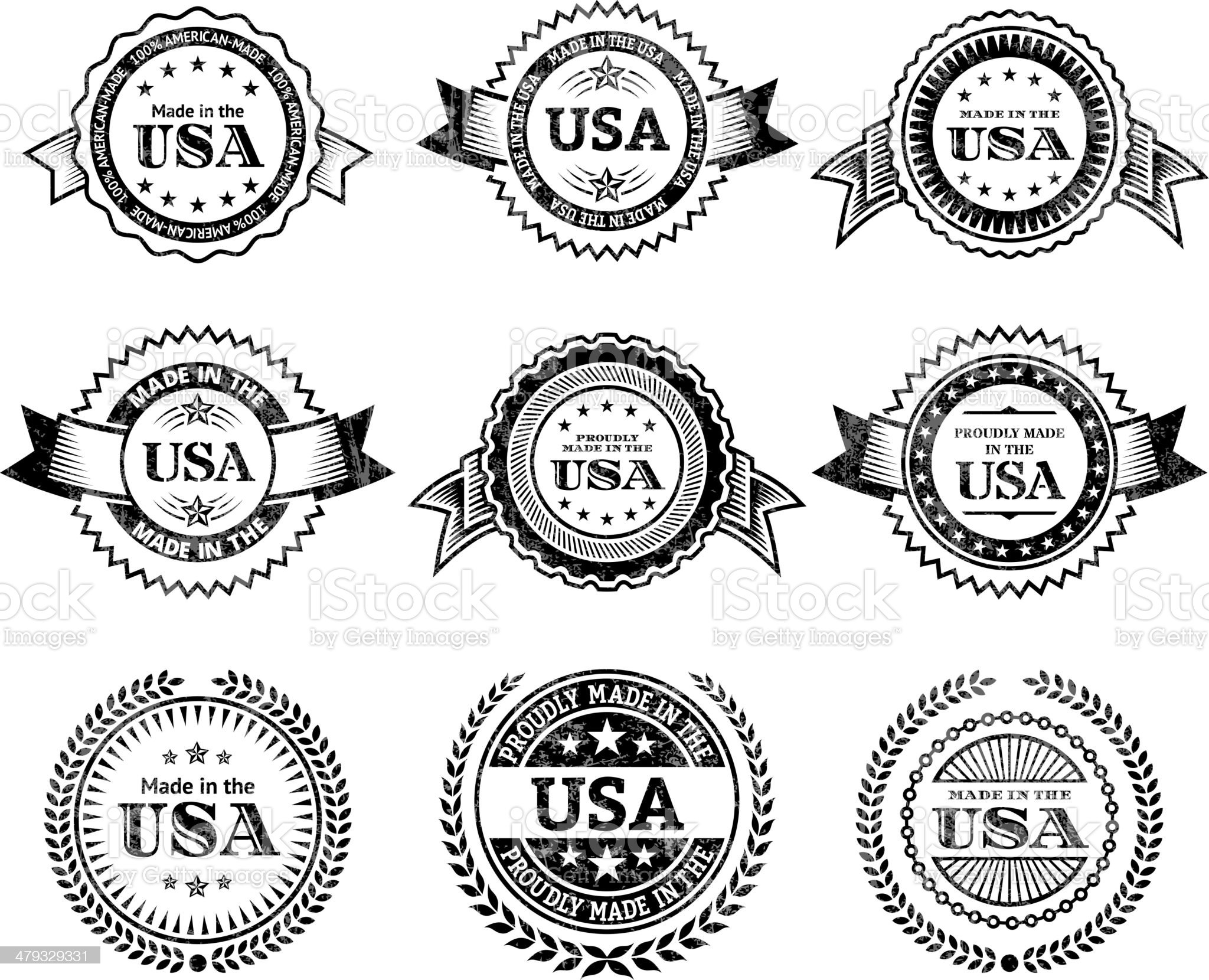 Made in the USA Badge black & white icon set royalty-free stock vector art