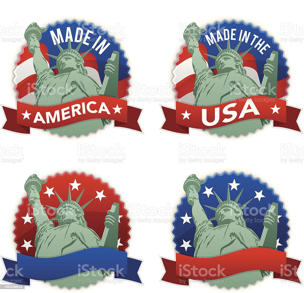Made in the USA Badges royalty-free stock vector art