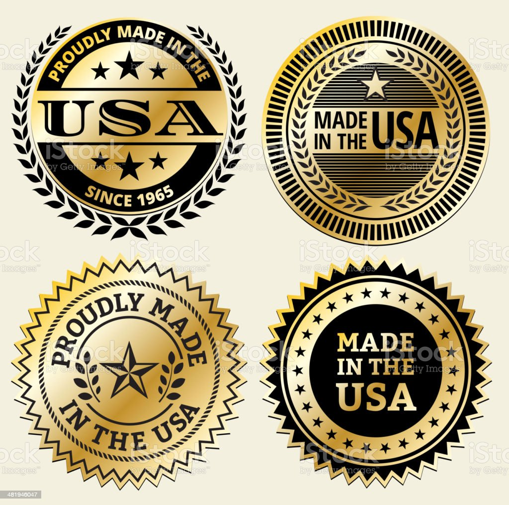 Made in the USA Black and Gold Badge Set royalty-free stock vector art