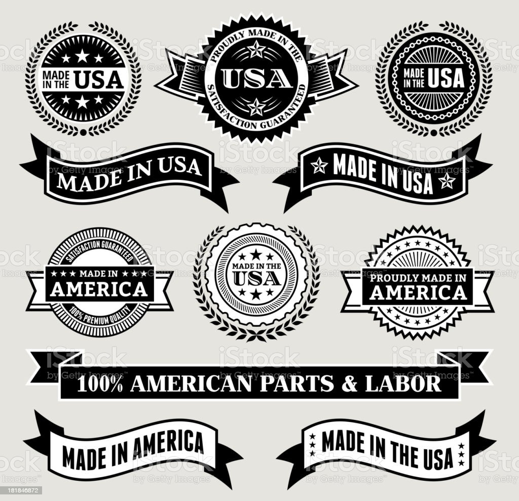 Made in the USA Black & White patriotic buttons set vector art illustration