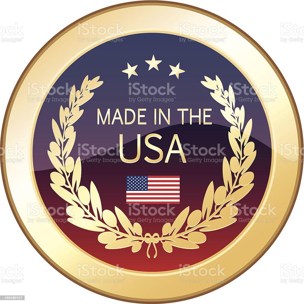 Made In The USA Golden Shield vector art illustration