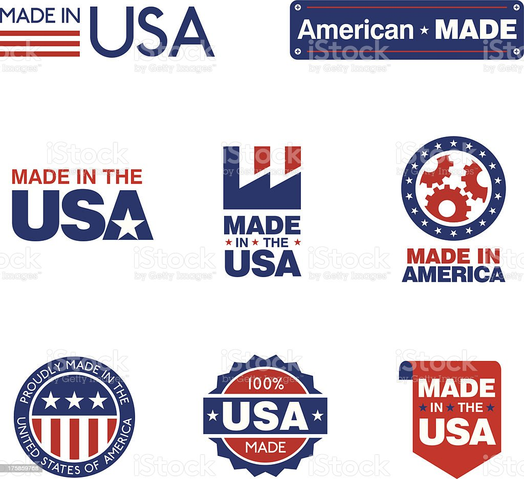 Made in the USA Labels royalty-free stock vector art