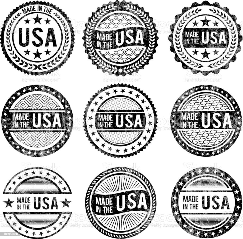 Made in the USA patriotic black & white icon set royalty-free stock vector art