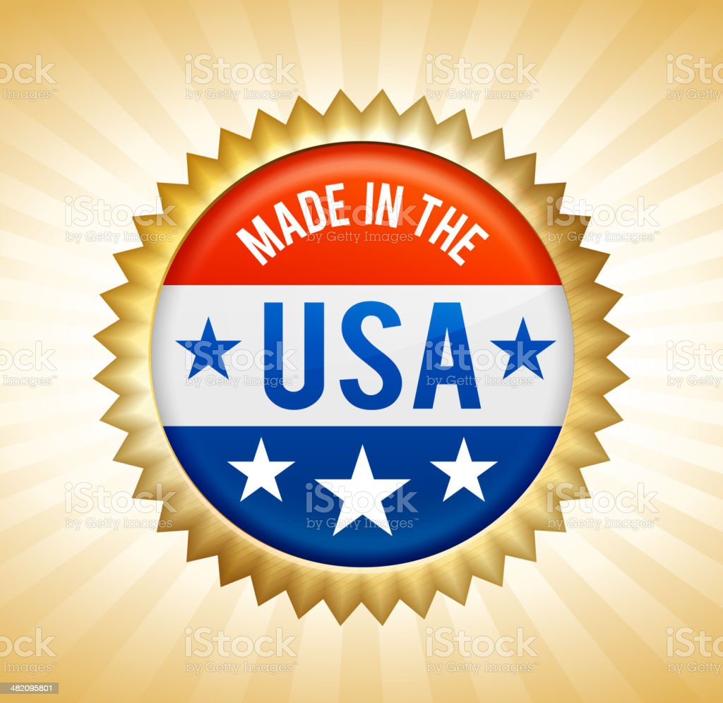 Made in the USA patriotic button royalty-free stock vector art