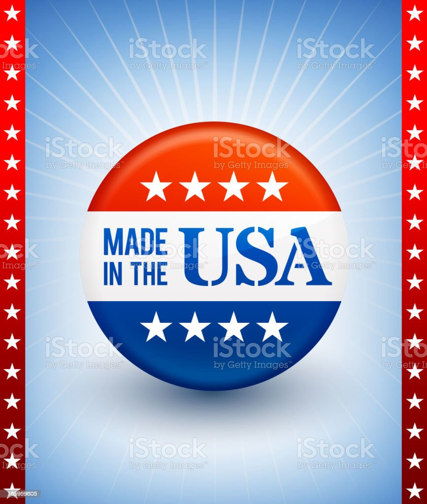 Made in the USA patriotic buttons on American Background royalty-free stock vector art