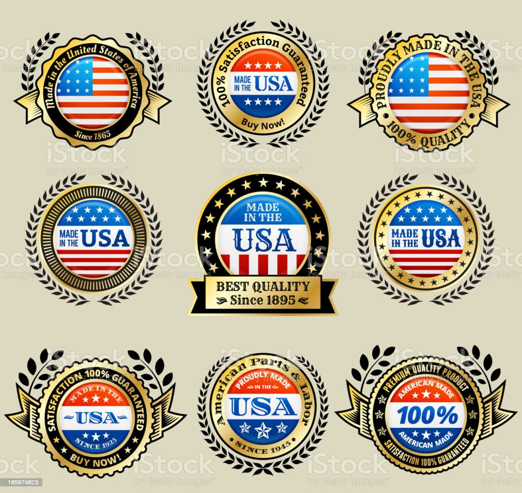 Made in the USA patriotic golden vector icon set royalty-free stock vector art
