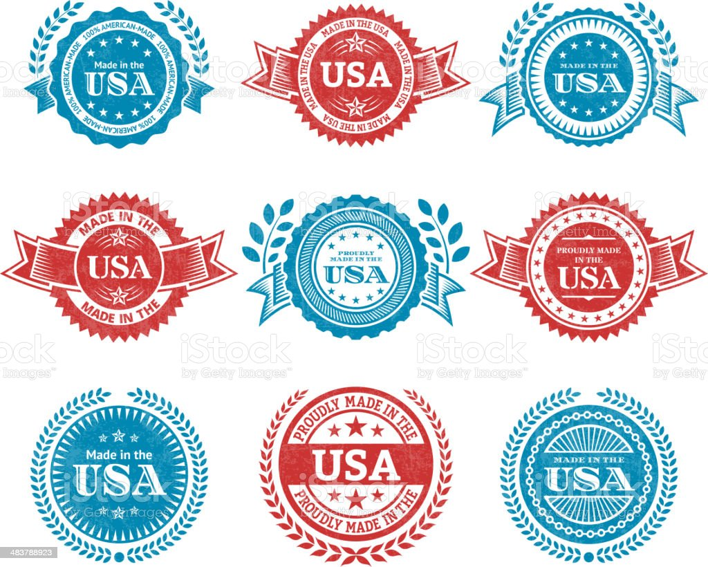 Made in the USA patriotic Grunge Badge vector icon set royalty-free stock vector art
