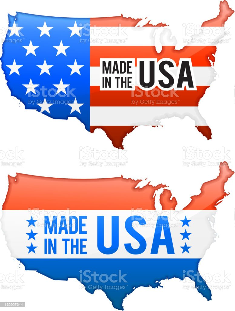 Made in the USA United States Map buttons set royalty-free stock vector art