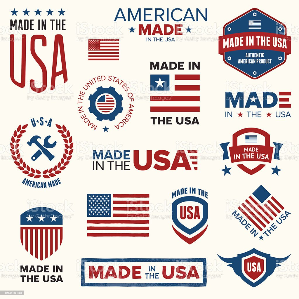 Made in the USA vector art illustration