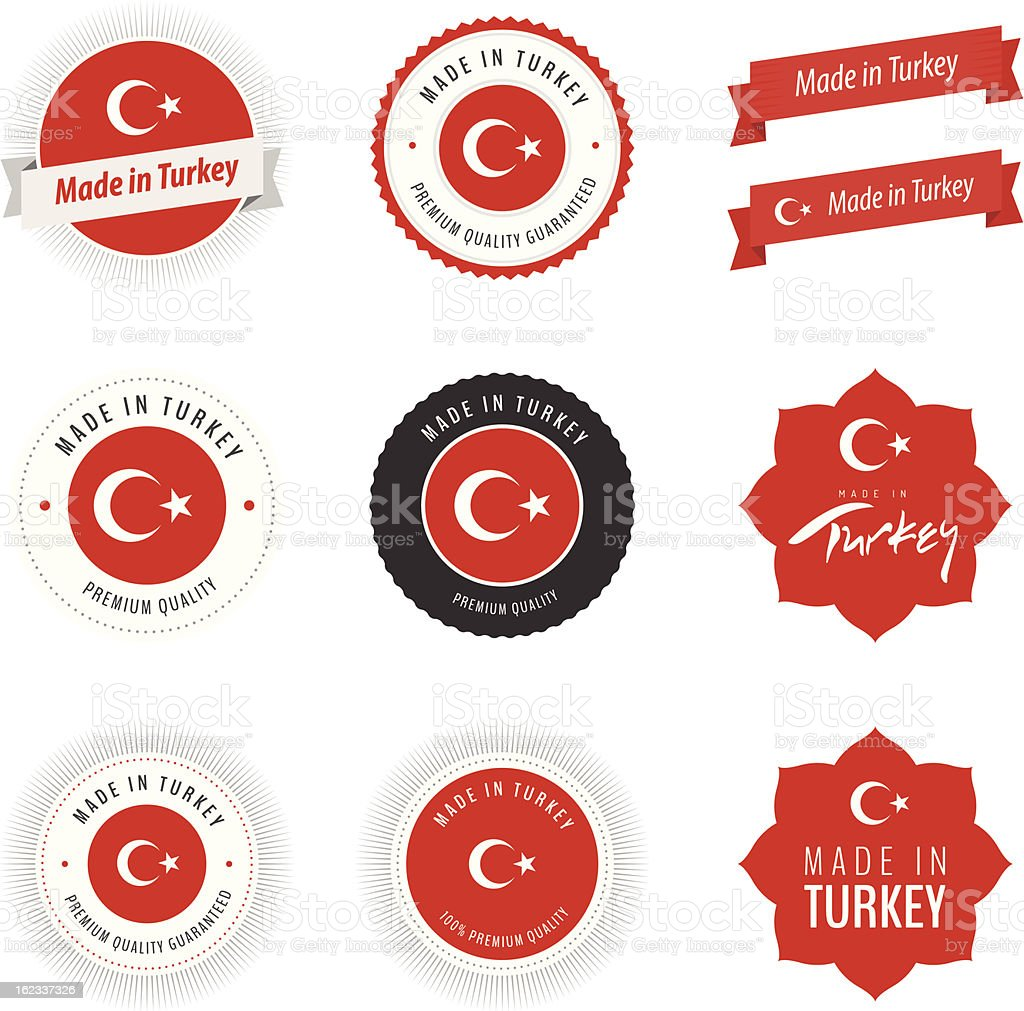 Made in Turkey labels, badges and stickers royalty-free stock vector art