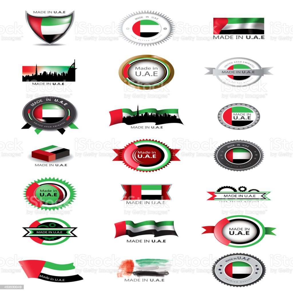 Made in UAE, United Arab Emirates Flag, seals royalty-free stock vector art