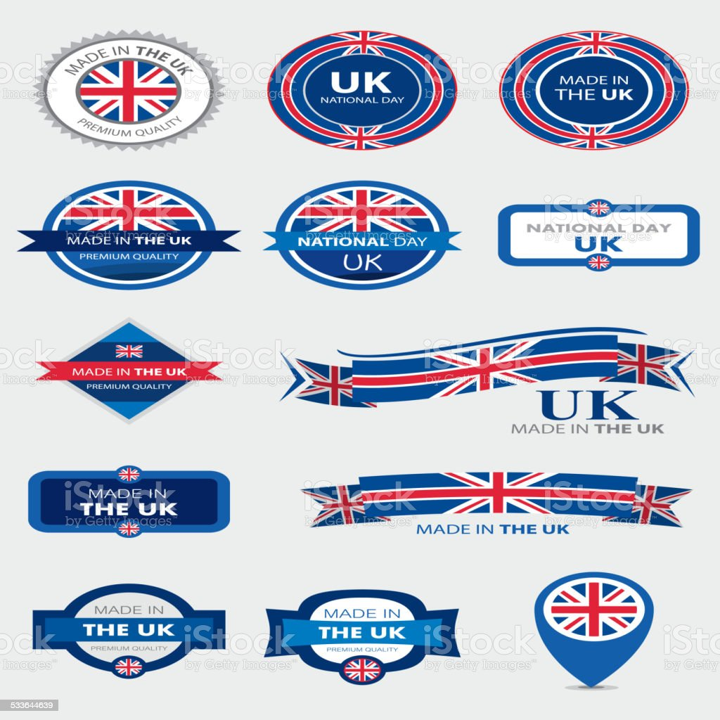 Made in UK Seal Collection, English Flag (Vector Art) vector art illustration