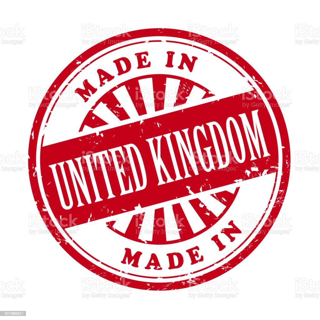 made in United Kingdom grunge rubber stamp vector art illustration