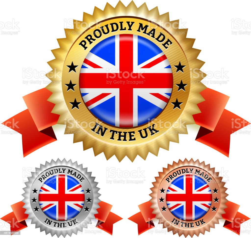 Made in United Kingdom UK Badge vector icon set royalty-free stock vector art