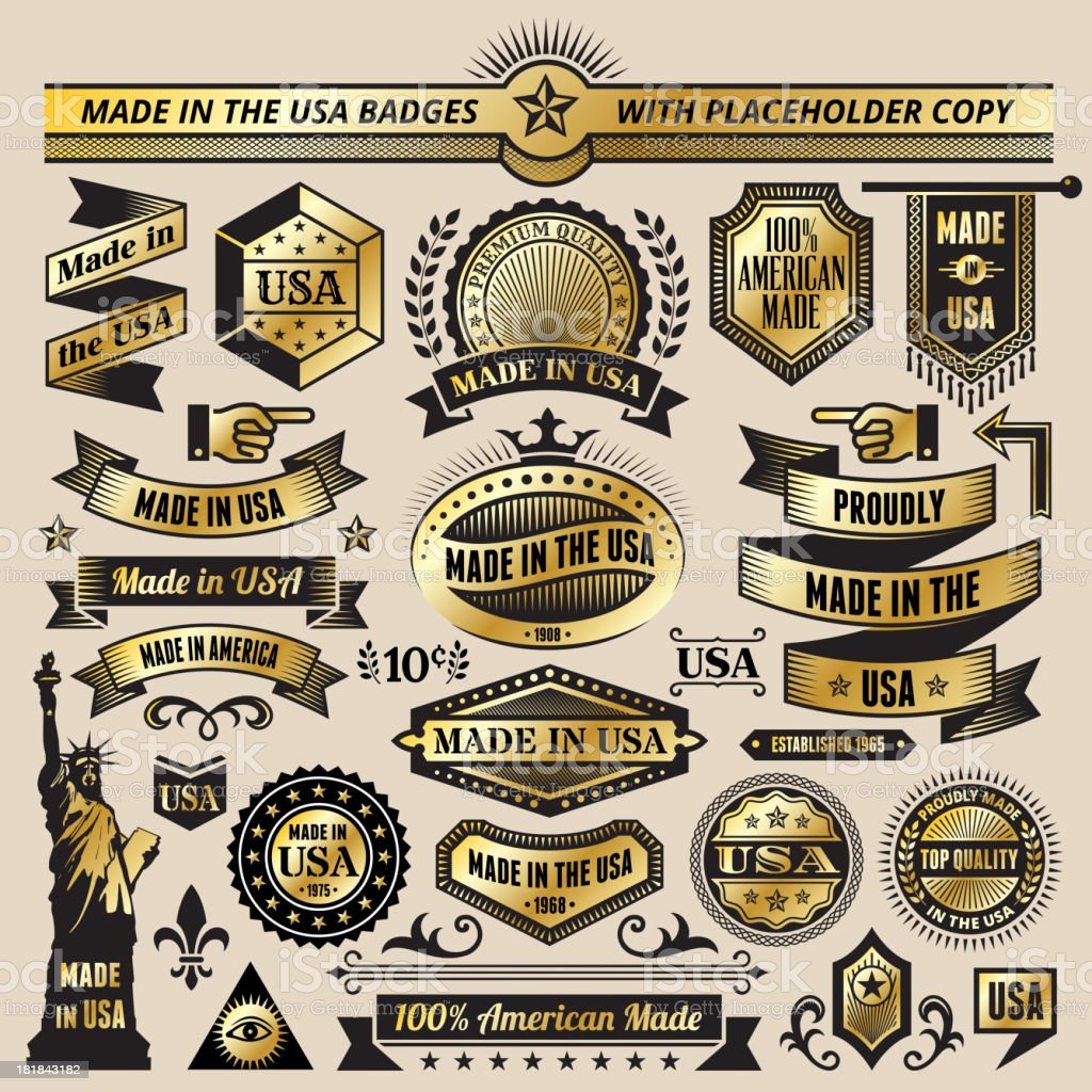Made in USA Black & Gold Banners, Badges, and Symbols royalty-free stock vector art