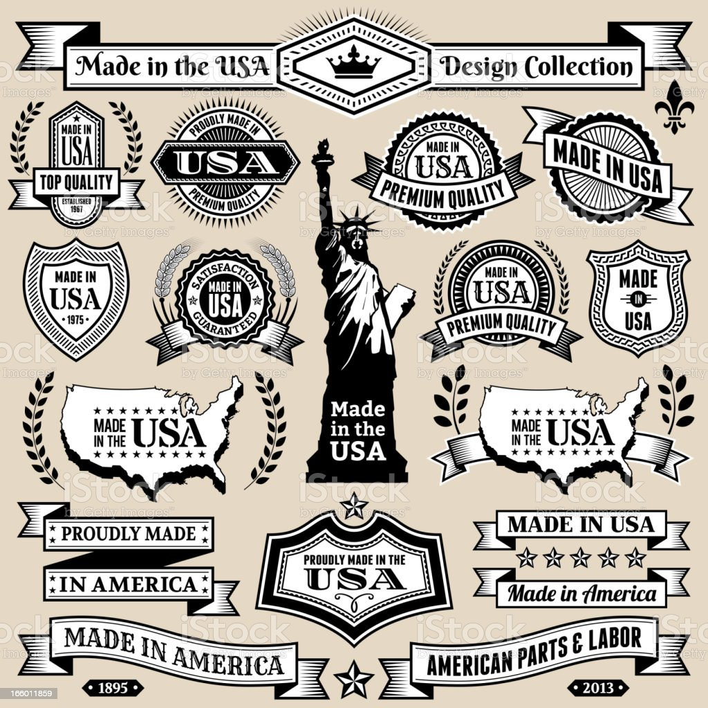Made in USA Black & White Banners, Badges, and Symbols royalty-free stock vector art