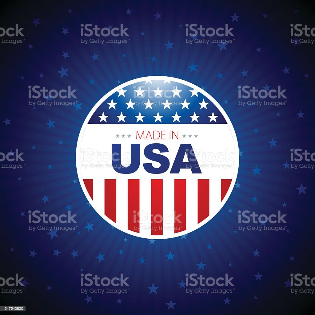 Made in USA Button with blue background vector art illustration
