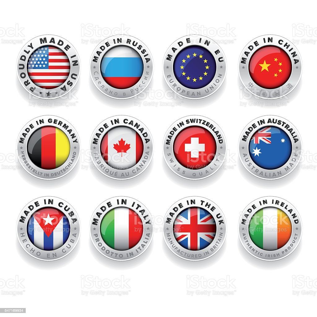 Made in Usa, Eu, China, Russia, Germany, Canada etc. vector art illustration