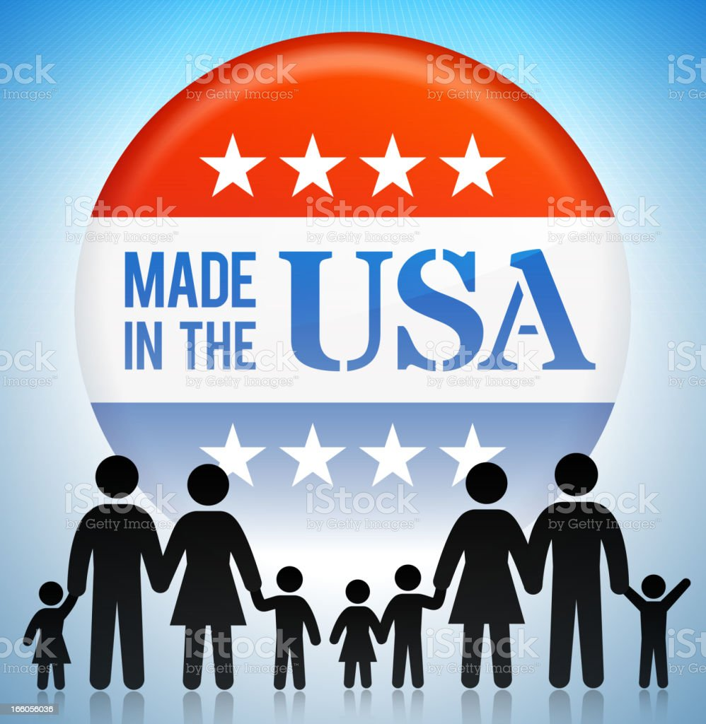 Made in USA Family Concept Stick Figures royalty-free stock vector art