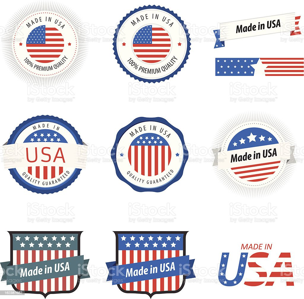 Made in USA labels, badges and stickers royalty-free stock vector art