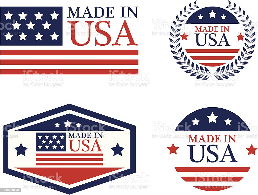 Made in USA labels - VECTOR royalty-free stock vector art