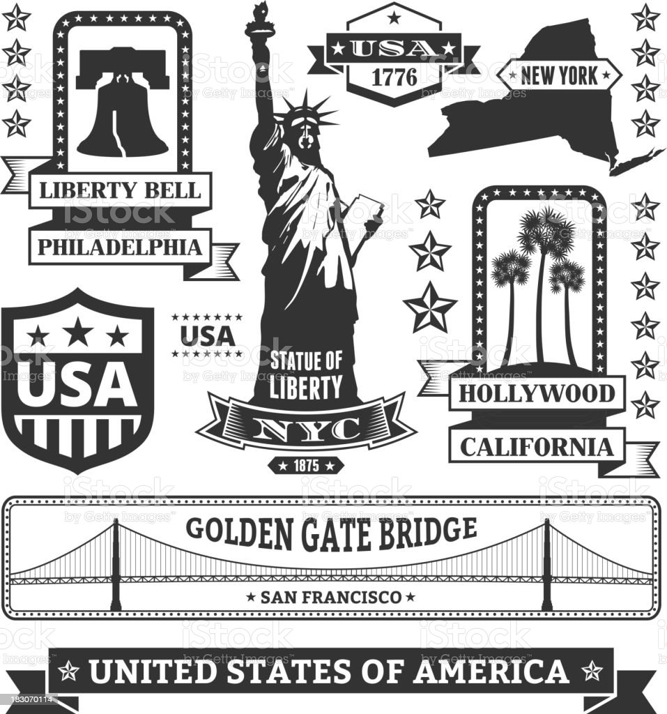 Made In USA royalty free vector black & white icons vector art illustration