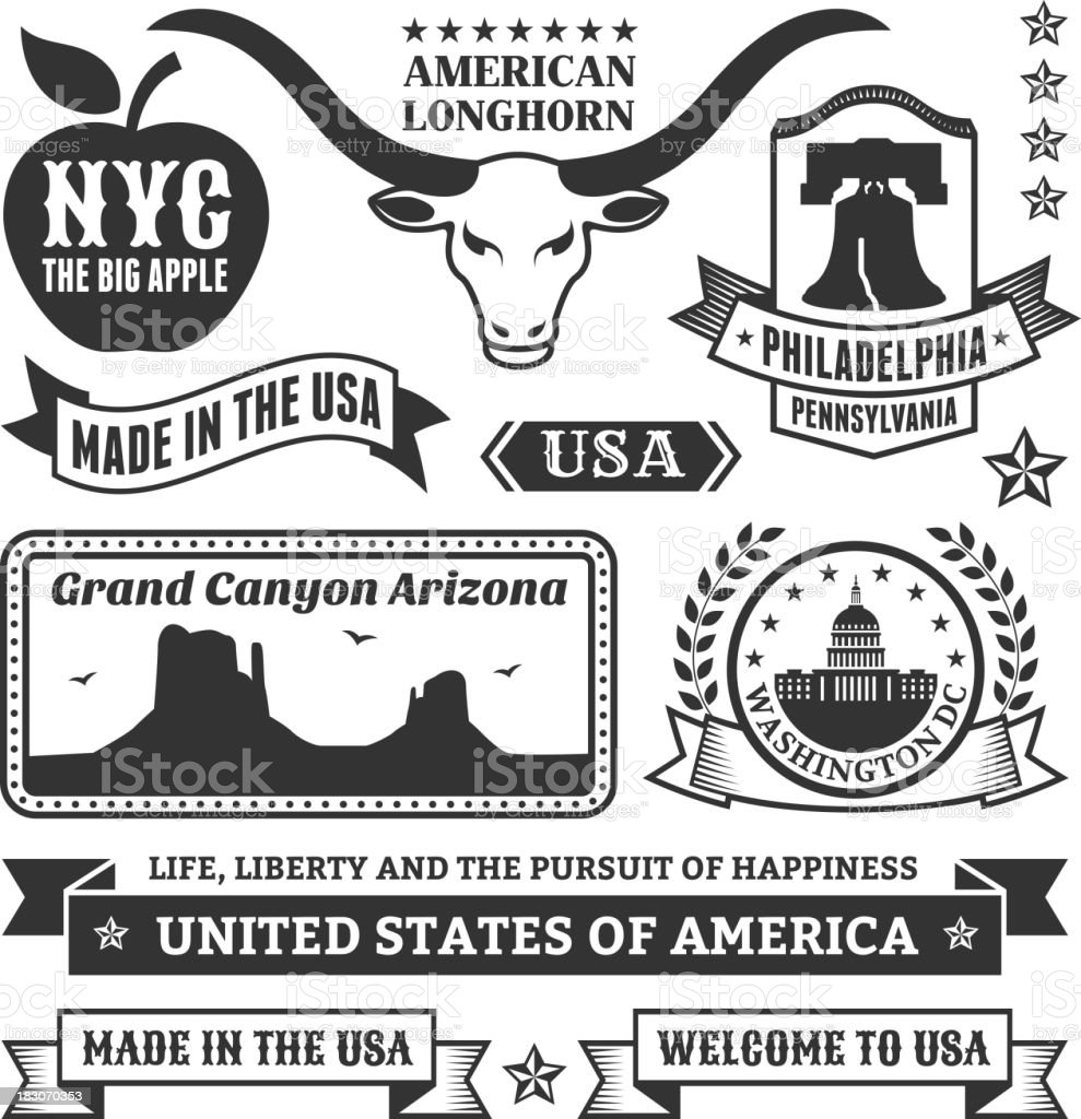 Made In USA Iconic State Black & White Set vector art illustration