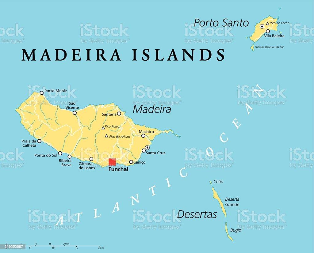 Madeira Islands Political Map vector art illustration