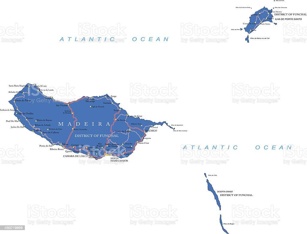 Madeira map vector art illustration