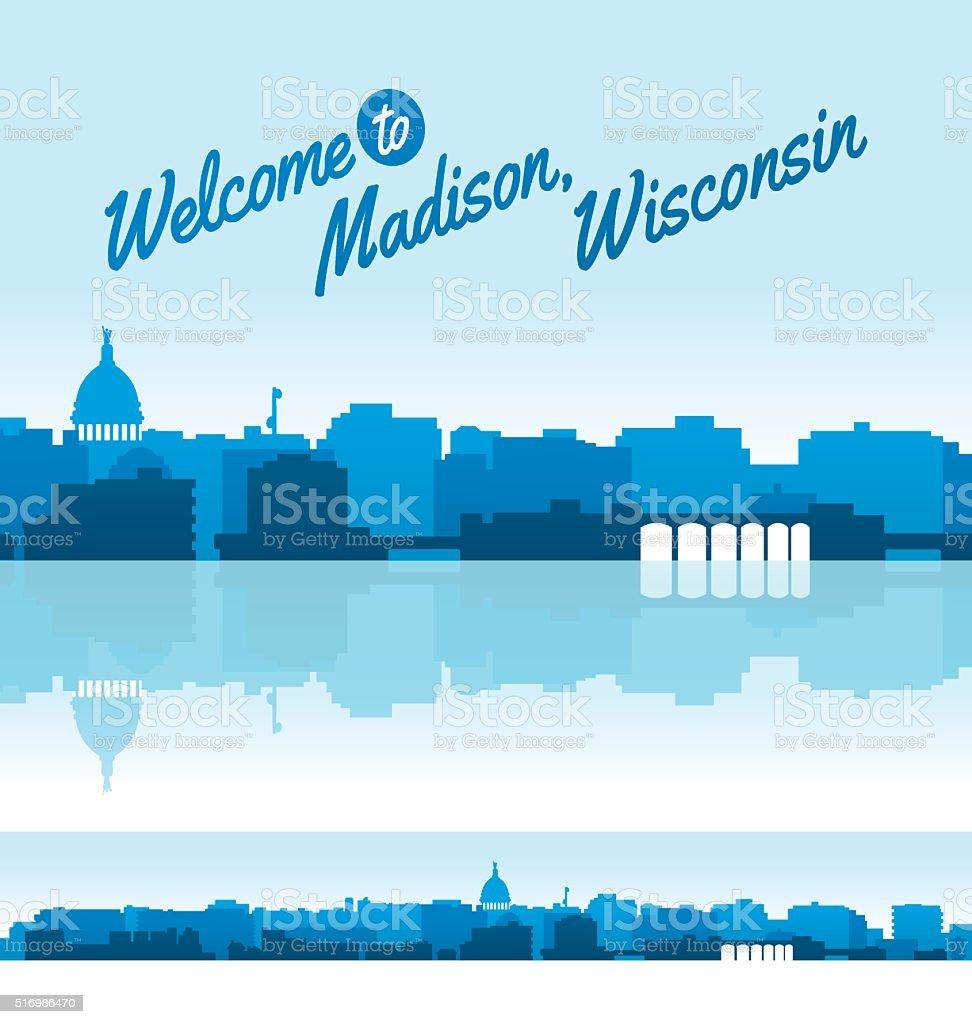 Madison, Wisconsin Skyline vector art illustration