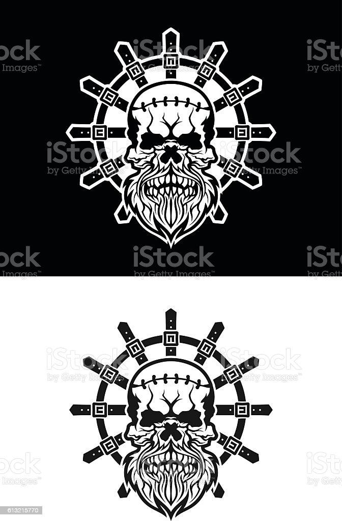 Madman skull vector art illustration
