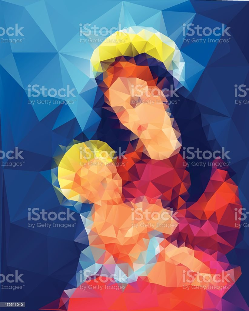 Madonna and Child vector art illustration