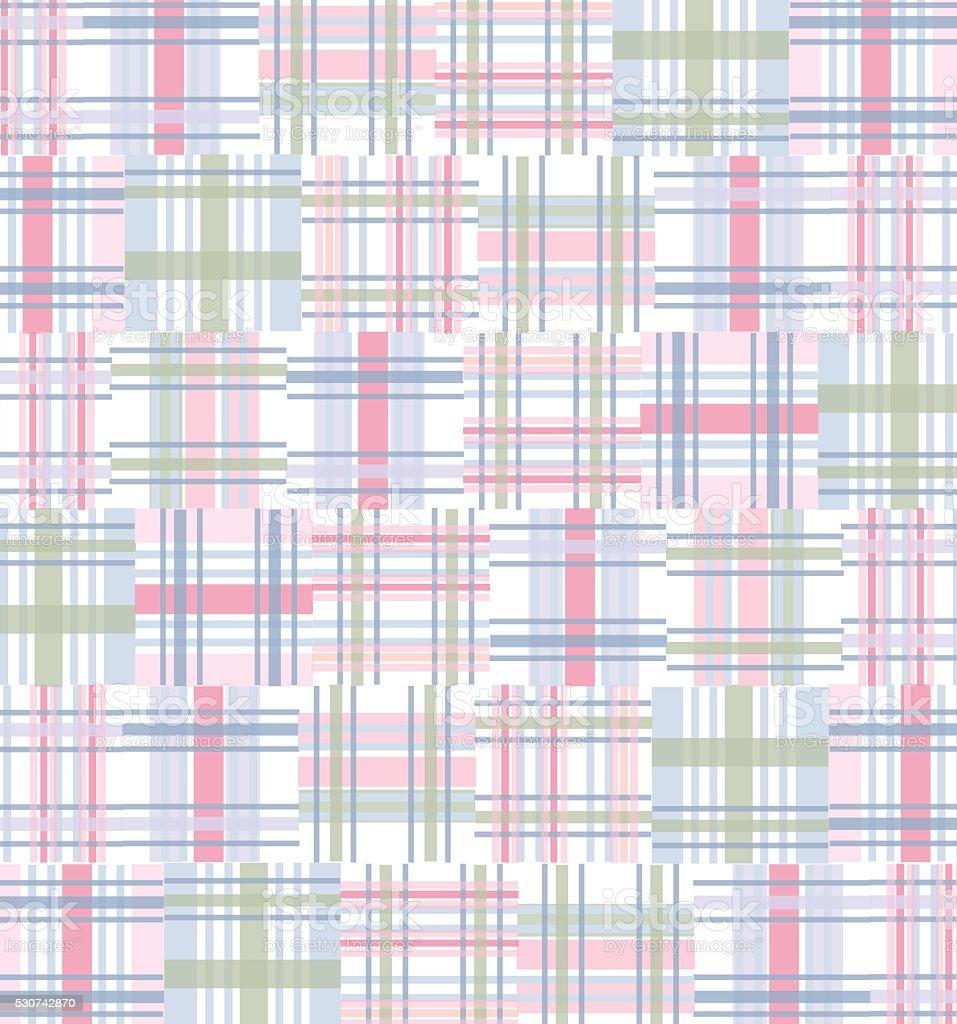 Madras Fabric, Patchwork Background Pattern - Pink, Green, Blue Pastels vector art illustration