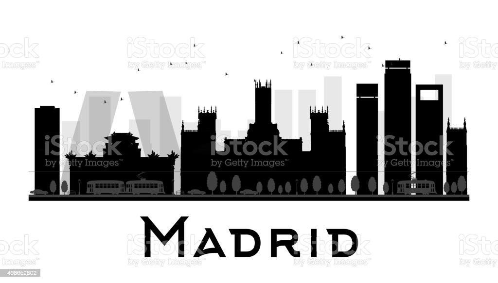 Madrid City skyline black and white silhouette vector art illustration