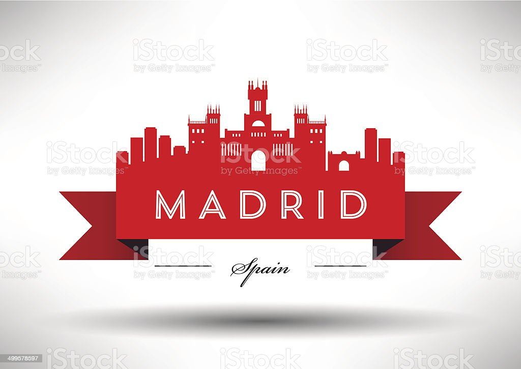 Madrid City Skyline with Typographic Design vector art illustration