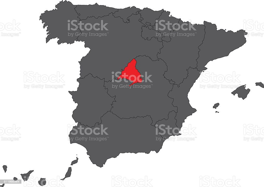 Madrid red map on gray Spain map vector vector art illustration